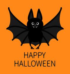 Bat standing happy halloween cute cartoon vector