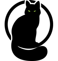 Black cat in the circle second variant vector