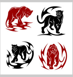 Black panthers set - stylized images for tattoos vector