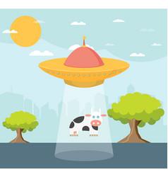 Cartoon ufo cow abduction vector