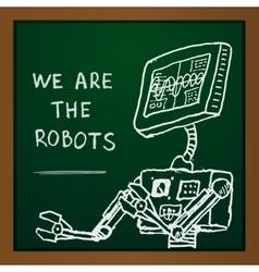 chalk draw robot on blackboard Eps10 vector image vector image