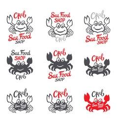 Crab silhouette Seafood shop logo branding vector image vector image