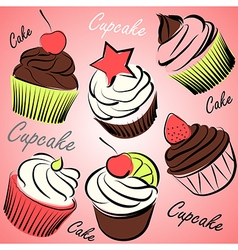 cupcake set vector image vector image