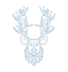 Deer head stylised doodle zen coloring book page vector