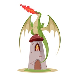 Dragon on the tower vector