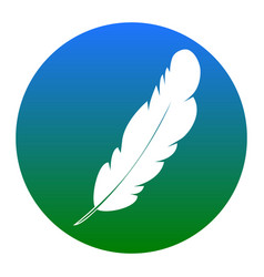 Feather sign white icon in vector