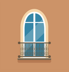 Flat arched window and decorative facade cornice vector