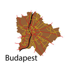 Flat scheme of the budapest hungary city plan of vector