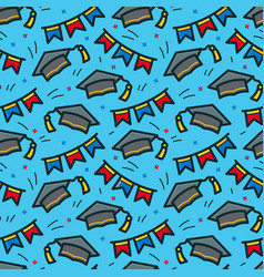 Graduation caps seamless pattern vector