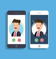 incoming call on mobile phone businessman or vector image vector image