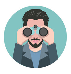 man looking through binoculars vector image vector image