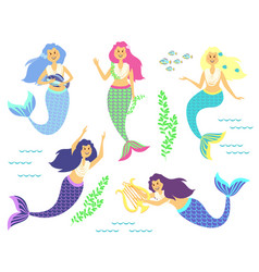 mermaids little cute girls underwater world sea vector image