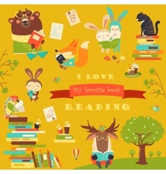 Set of cartoon animals reading books vector
