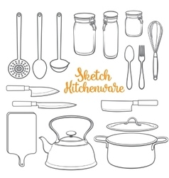 Set of isolated kitchenware and cutlery sketch vector