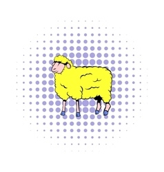 Sheep icon in comics style vector