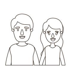 Sketch contour caricature half body couple woman vector