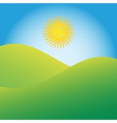 Sun rising over green hills vector