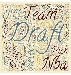 The nba draft text background wordcloud concept vector
