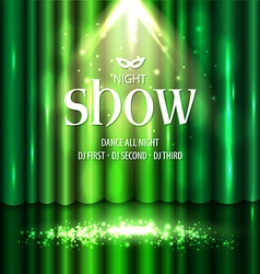Theatrical background with a green curtain and a vector