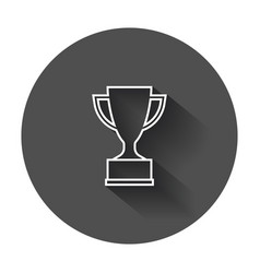 Trophy cup flat icon in line style simple winner vector