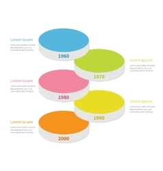 Vertical timeline round colorful stage podium vector