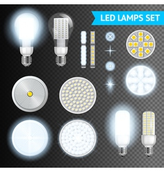 Led lamps transparent set vector