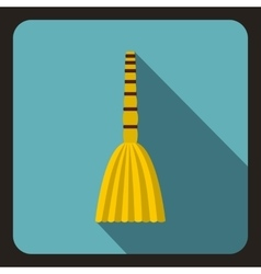 Yellow broom icon flat style vector