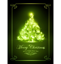 Elegant green christmas card vector