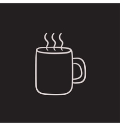 Mug of hot drink sketch icon vector