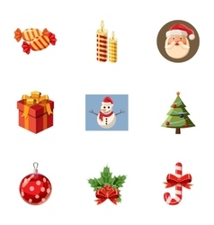 Xmas icons set cartoon style vector