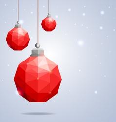 Polygonal red Christmas balls hanging on winter b vector image
