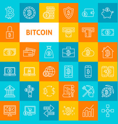 Line bitcoin icons vector