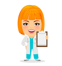 Medical doctor woman holding clipboard funny vector