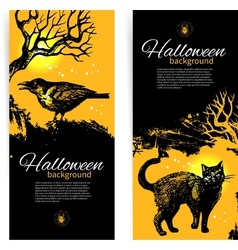 Hand drawn set of Halloween banners vector image