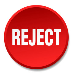 Reject red round flat isolated push button vector