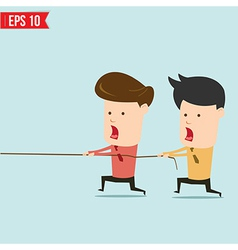 Two businessmen playing tug of war vector