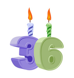 36 years birthday number with festive candle for vector image