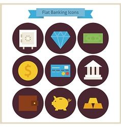 Flat finance and banking icons set vector