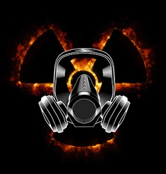 Gas mask and radiation icon vector