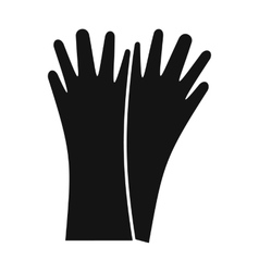 Rubber gloves black simple icon vector