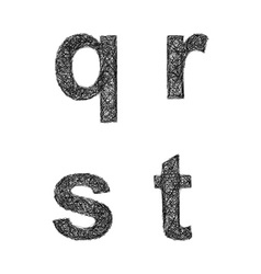 Sketch font set - lowercase letters q r s t vector