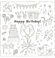 Birthday party doodles elements background vector image