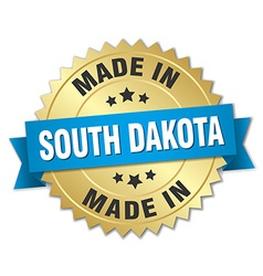 Made in south dakota gold badge with blue ribbon vector