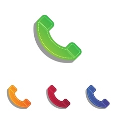 Phone sign  colorfull applique icons vector