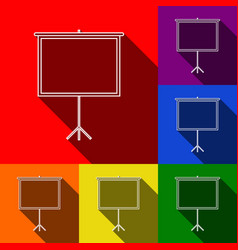 blank projection screen set of icons with vector image