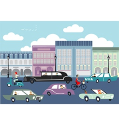 Busy street vector image vector image