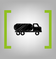Car transports sign black scribble icon vector