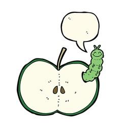 Cartoon bug eating apple with speech bubble vector