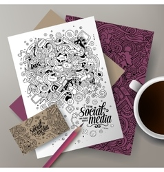 Cartoon cute doodles social corporate vector