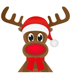 Christmas reindeer in a red scarf vector image